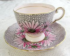Vintage Tuscan Pink Tea Cup and Saucer with Flowers, Fine English Bone China                                                                                                                                                                                 More