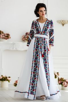dresses hijab gowns white lace Unique wedding dress with colorful Ukrainian embroidery - Organza sheer maxi wedding gown - Lace evening dress Stylish Dresses, Simple Dresses, Cute Dresses, Beautiful Dresses, Fashion Dresses, Dresses With Sleeves, Afghan Clothes, Afghan Dresses, Lace Evening Dresses
