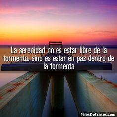 La serenidad no es estar libre de la tormenta, sino es estar en paz dentro de la tormenta