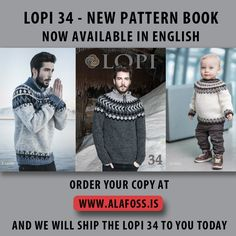 Álafoss - since Icelandic knitting yarn, Icelandic wool sweaters, Icelandic design and souvenirs at a reasonable price - world wide shipping. Icelandic Sweaters, Wool Sweaters, English Shop, Pattern Books, Knitting Yarn, Shopping, Marled Sweater