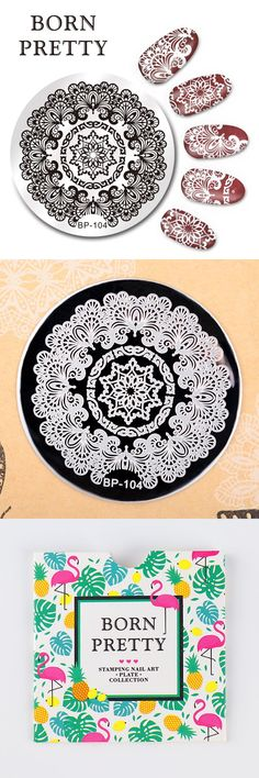 [Visit to Buy] BORN PRETTY 5.5cm Round Nail Art Stamp Stamping Plates Template Arabesque Design Image Plate Nail Tool BP-104 #Advertisement