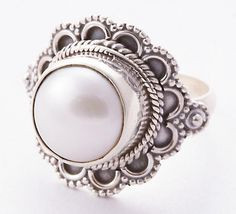 925 Sterling Silver Pearl Ring MCR-4068 from Edelsteinschmuck by DaWanda.com