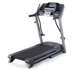 """Icon Fitness HealthRider Softstrider Cushioning Space Saving Home Treadmill. 2.75HP Mach motor    16 workout apps    Sofstrider cushioning. 0-10 percent Quick Incline Control    Grip Pulse EKG heart rate monitor    5-year frame and motor, 90-day parts and labor. 0-10MPH QuickSpeed Control    Multi-window LED display    300 lb weight capacity. 18"""" x 50"""" tread belt    CoolAire workout fan    Meal plan included. SpaceSaver design    Compatible music port for iPod."""