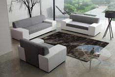 TORONTO fabric and faux leather sofa suite living room furniture armchair couch sofa set in grey and white colour Modern Sofa, Living Room Sofa, Beautiful Sofas, Sofa Design, Sofa, Modern Sofa Set, Sofa Set Designs, Couch Sofa Set, Faux Leather Sofa