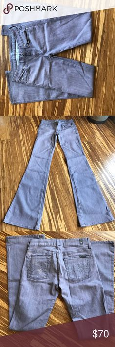"7 for All Mankind A Pocket Flip Flop Jeans 33"" inseam, summer legs for days in this lilac denim. Sold out @ Free People 7 For All Mankind Pants Boot Cut & Flare"