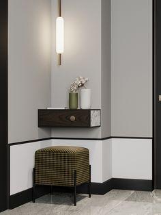 Moscow Ap on Behance House Furniture Design, Home Interior Design, Home Furniture, House Design, Dark Living Rooms, Hotel Room Design, Design Bedroom, Floor Trim, Luxury Home Decor