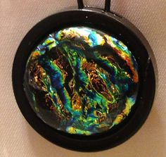 Black Zipper Pull with Blue Gold Dichroic glass on Etsy, $20.00