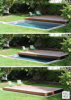 Deck design idea - This elevated wooden deck is actually a sliding pool pool .Deck design idea - This raised wooden deck is actually a sliding pool cover CO - ruemaier - DeckDesignIdee dieses autlich Backyard Pool Designs, Small Backyard Pools, Small Pools, Swimming Pools Backyard, Swimming Pool Designs, Backyard Landscaping, Small Patio, Pool Decks, Lap Pools