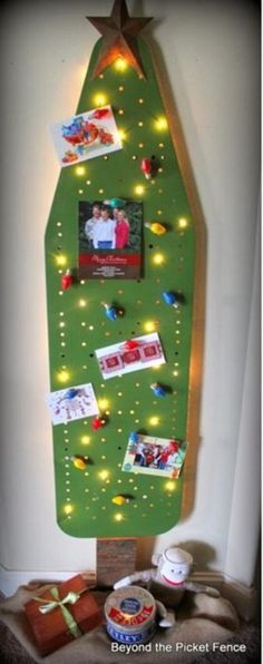 Refurbished & reclaimed ironing board turned into a fabulous Christmas Tree! Unique Christmas Trees, 12 Days Of Christmas, Winter Christmas, Vintage Christmas, Christmas Decorations, Unique Trees, Christmas Projects, Holiday Crafts, Old Ironing Boards