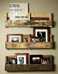 Neat. Pallet redo into: Rustic Shelves Use as magazine rack in outhouse!
