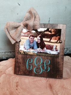 Personalized Wooden Monogrammed Frame with Burlap Bow