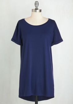 Simplicity on a Saturday Tunic in Navy. Whoever said jeans and a tee couldnt look completely cute has clearly never encountered a gal wearing this navy T-shirt! #blue #modcloth