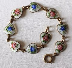 Exquisite guilloche enamel and goldtone over sterling silver Finn Jensen Norway floral heart bracelet. 9 enamel heart charm/links - alternating pink roses and blue bells. Norway Sterling 925S. Expect minor surface abrasions consistent with age, use and storage - nothing distracting. | eBay!