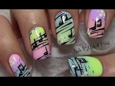 Sommer Noten Nageldesign / Summer Music Note Nail Art Design / Nägel lackieren - YouTube
