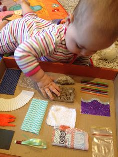 Sensory board. Gather together a variety of scraps from around the house.   I have used -   bubble wrap, straws, cupcake wrappers, clean face washer, non-slip rubber, rock, wood, plastic from a sandwich bag, paper, card and fabric.