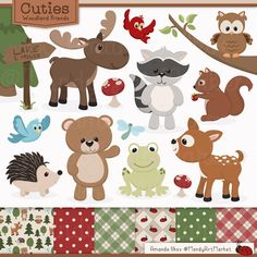 Cute Woodland Animals Clip Art & Papers Woodland by AmandaIlkov