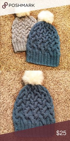 Cable Knit Fuzzy Pom Pom Hats Super cute and trendy, cable knit hats with a fuzzy Pom Pom.  These are handmade to order and are super warm and cozy handmade Accessories Hats