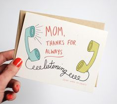 diy birthday cards for mom Mothers Day Card - Funny Mothers Day Card - Mom Thanks for Always Listening Even When Im Crazy Mom Cards, Bday Cards, Cards Diy, Diy Birthday Cards For Mom, Diy Cards For Mom, Mothers Day Drawings, Tarjetas Diy, Diy Gifts For Mom, Mother Birthday Gifts