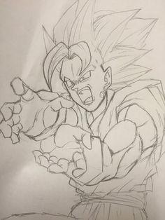 Vegetto Blue Blue Drawings, Anime Drawings Sketches, Anime Sketch, Cool Drawings, Vegito Y Gogeta, Dragon Super, Manga Dragon, Ball Drawing, Anime Store