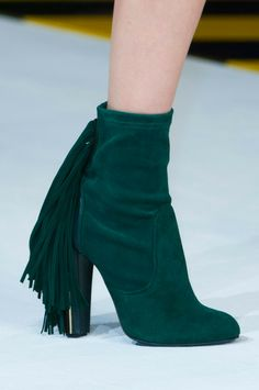Just Cavalli Green Fringed Ankle Boots Fall 2014 #Shoes #Heels