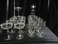 Vintage Cut Design Stemware- Water and Champagne