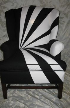 Black and white twills create the sunburst pattern on this rejuvenated chair. Photo: Kipe Upholstery