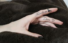 Freedom text and Flying Bird AND Love script and