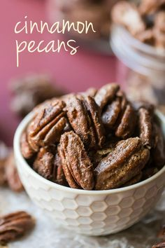 These cinnamon pecans are light, crunchy, and just sweet enough. Perfect for snacking, as a garnish for salads or veggies, or as an easy homemade gift. Appetizer Recipes, Snack Recipes, Dessert Recipes, Cooking Recipes, Xmas Recipes, Appetizers, Pecan Recipes, Candy Recipes, Vodka Recipes