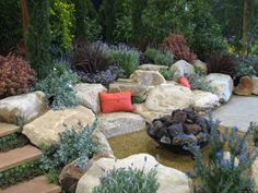 landscaping with boulders... I think this for the edge of the yard before the lake... could be beautiful and much less weeding!!!