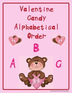 Valentine Candy ABC Ordering Center is a manipulative activity to help students practice alphabetical ordering using the 50 basic Kindergarten sight words (I and A are excluded). You can use this activity as a manipulative activity in a learning center or you can create a file folder game.