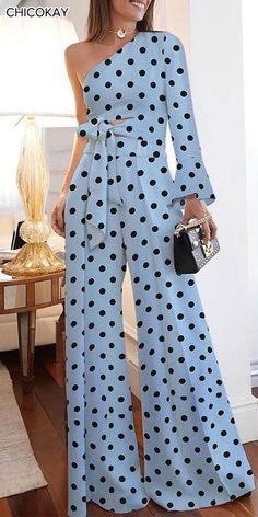 Dot Jumpsuit - Fashion Pure Colour Off-Shoulder Polka Dot Jumpsuit Source by eloisa_valdez - Classy Outfits, Chic Outfits, Look Fashion, Womens Fashion, Fashion Design, Vetement Fashion, Overall, Jumpsuits For Women, African Fashion