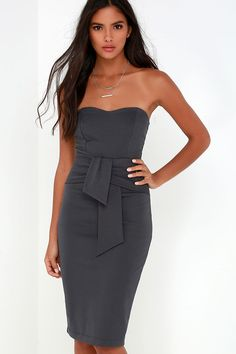 Sash Appeal Dark Grey Strapless Dress at Lulus.com!