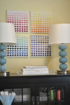 How clever! Use paint chips on a canvas for a pop of color(s) to a room! So doing it!
