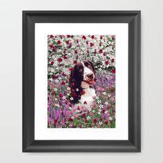 Lady in Flowers - Brittany Spaniel Dog Framed Art Print by Diane Clancy's Art - $33.00