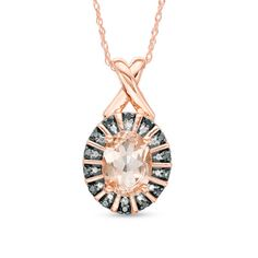 Oval+Morganite+and+Enhanced+Black+and+White+Diamond+Beaded+Frame+Pendant+in+10K+Rose+Gold