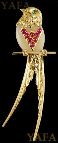 CARTIER Ruby and Emerald Bird Brooch - Yafa Jewelry