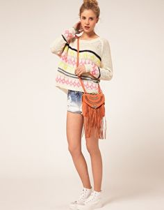 fringe leather bag= cute (also love the sweater!)