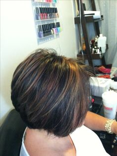 Chunky caramel highlights in dark hair!!! Short stacked bob love!!!!!!