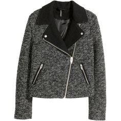 H&M Biker jacket in a wool blend ($60) via Polyvore featuring outerwear, jackets, dark grey, wool blend jacket, h&m jackets, moto zip jacket, zipper jacket and motorcycle jacket