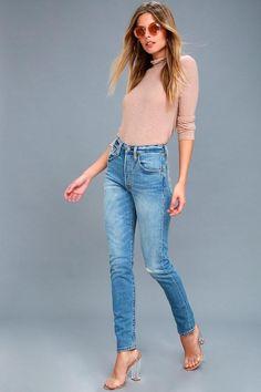 #NewYear #Lulus - #Lulus 501 Skinny Medium Wash Distressed Jeans - Lulus - AdoreWe.com