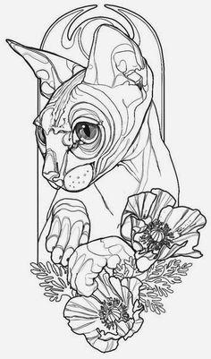 Эскиз тату сфинкса с цветами
