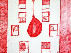 Louise Bourgeois  J'AIME BIEN MES AMIS ET MON MARI, 1998  Red ink and pencil on paper  9 x 12 inches  22.9 x 30.5 centimeters