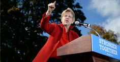 """Sen. Elizabeth Warren (D-Mass.), seen campaigning here for Hillary Clinton, has been identified as the potential """"thorn in chief"""" in Clinton's side. (Photo: Getty)"""