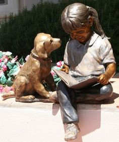 'Happily Ever After' sculpture by Marianne Caroselli Little girl with dog