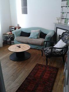 Table d 39 appoint de chevet bois et metal tables - Table basse bobine ...