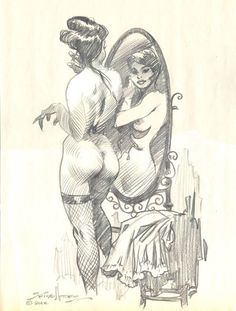 Original Comic Art titled Nude Steampunk Era Girl in Mirror , located in Robert 's Art with More Naughty Bits Nudity Warning Comic Art Gallery Art Sketches, Art Drawings, Graphic Novel Art, Comic Kunst, Art For Art Sake, Pulp Art, Illustrations And Posters, Art Sketchbook, Comic Books Art