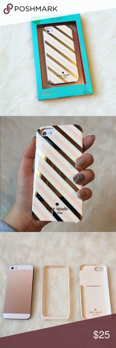 Kate Spade 5/5s iPhone case GORGEOUS ✨ This has a Kate Spade iPhone 5/5S case. It has a hardshell and rubberized a bumper for protection. It's so beautiful  NEW NEVER USED NO TRADES kate spade Accessories Phone Cases