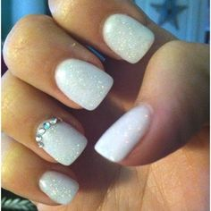 For these nails put a clear coat on if you do before any other colors. Then put a white polish and let it dry.  Then put a white sparkle polish and let it dry. Then get nail gem stones and put them on the bottom of your ring finger and have it go around. Then put a clear coat and you are done.