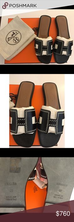 Hermes 'Oran' Sandals *BRAND NEW WITH BOX* Hermes 'Oran' sandals from the new SS17 collection. SOLD OUT EVERYWHERE! Black patent leather with perforated stitching. Size 36. Retail $780. *LOWER PRICE ON 🅿️🅿️* Hermes Shoes Sandals