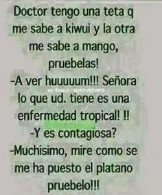 Tetas con sabores...   #frutas, #humor, #chistes, #risas Spanish Jokes, Funny Spanish Memes, Humor Mexicano, Bff Quotes, Sarcastic Quotes, Wtf Funny, Funny Jokes, Romantic Humor, Funny Pictures